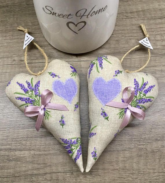 Lavender hearts set 2 pieces