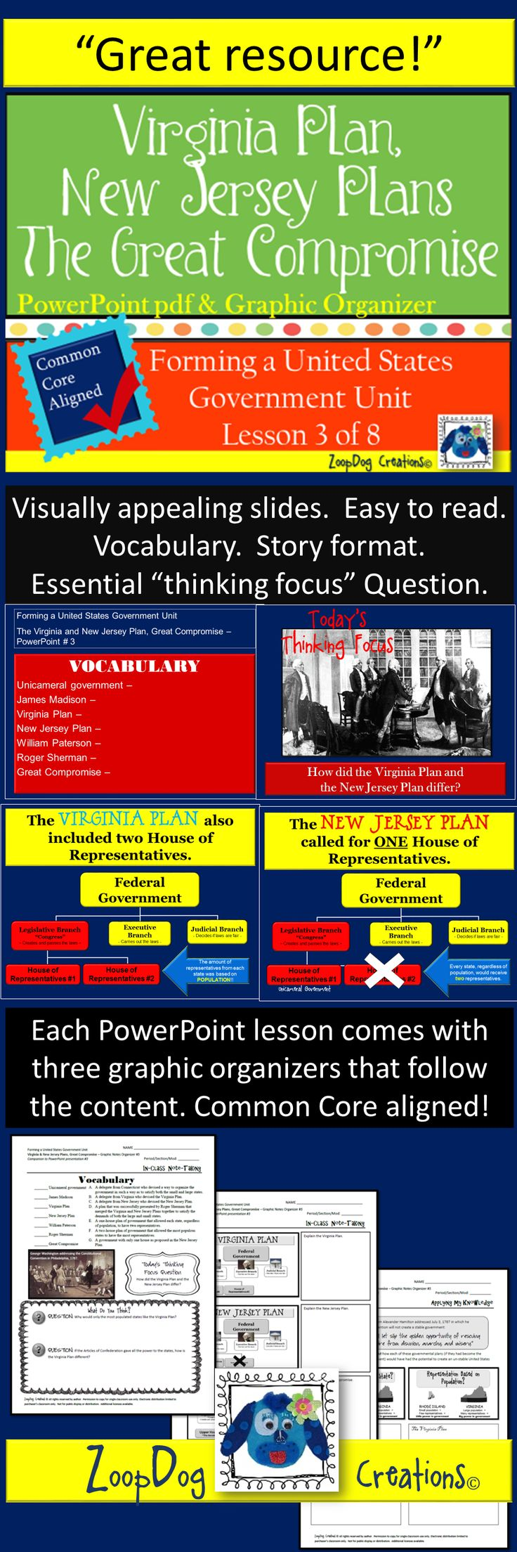 Forming a United States Government. Virginia Plan. New Jersey Plan. The Great Compromise. This PowerPoint presentation is perfect for your middle school classroom! Visually appealing slides, easy to read and understand, includes a 3-page graphic organizer that matches perfectly with the content presented in the PowerPoint. Take a look!