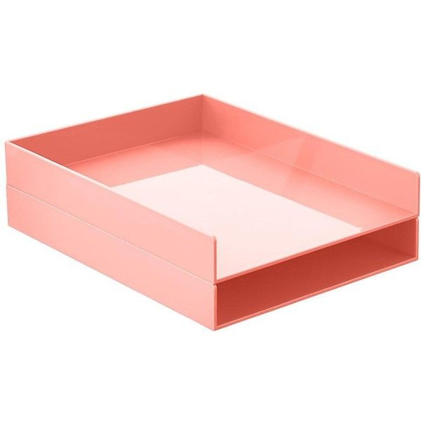 Blush Poppin Stackable Letter Tray ($15) ❤ liked on Polyvore featuring home, home decor, office accessories, stackable letter trays, blush container and stackable paper trays