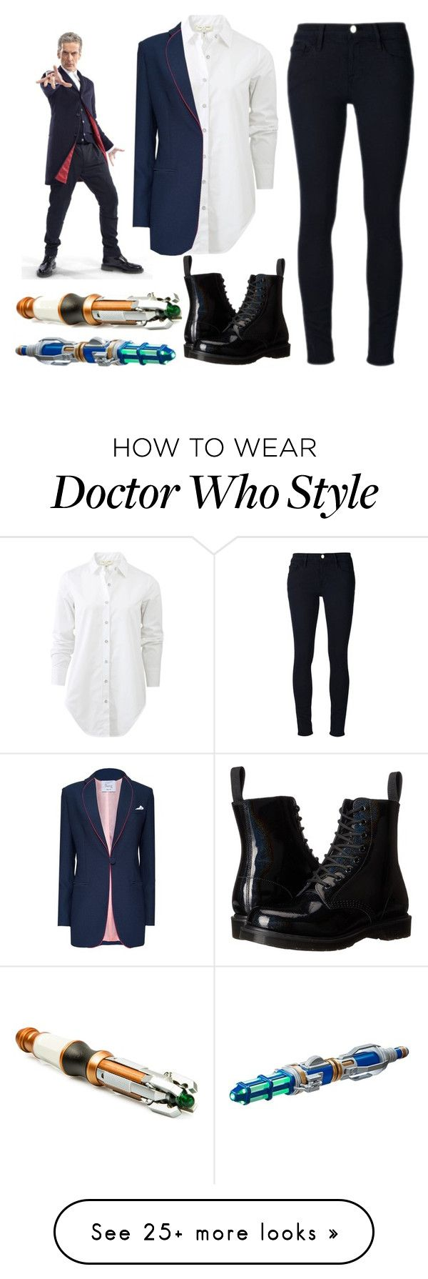 """Doctor Who Halloween Costume or something, 12th Doctor"" by lizacatsforever on Polyvore featuring Frame Denim, rag & bone and Dr. Martens"