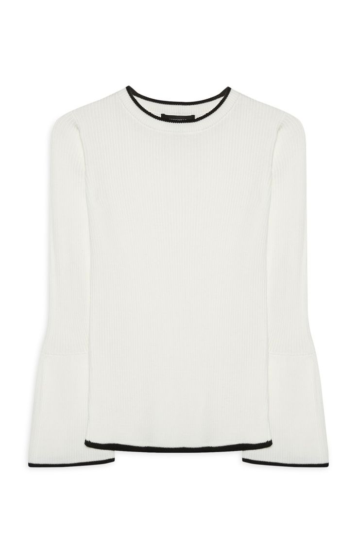 Primark - White Tipped Flare Sleeve Jumper