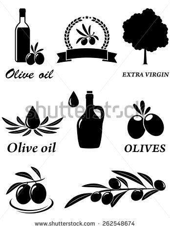 set of isolated olive oil icons on white background