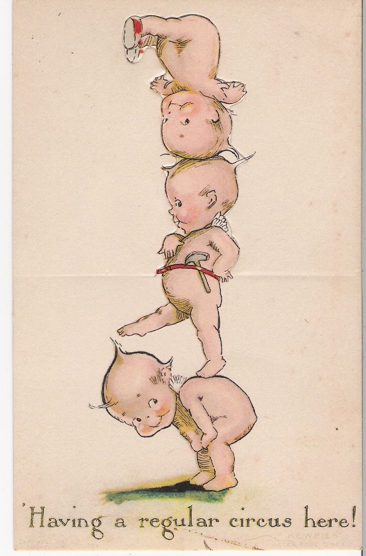 Kewpie tower postcard, after Rose O'Neill. Via http://designed-by-dee.blogspot.co.uk/2011/07/sunday-postcard.html