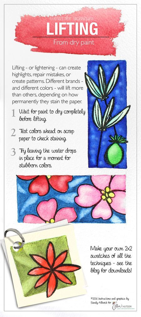 @sandyallnock shares her tips for LIFTING from dry paint when WATERCOLORING. #EllenHutsonLLC
