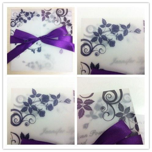 meilleur faire part mariage avec calque et ruban violets. Black Bedroom Furniture Sets. Home Design Ideas