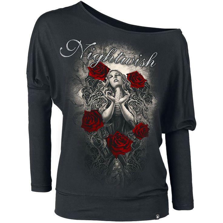 nightwish long sleeved shirt women rose angel black. Black Bedroom Furniture Sets. Home Design Ideas