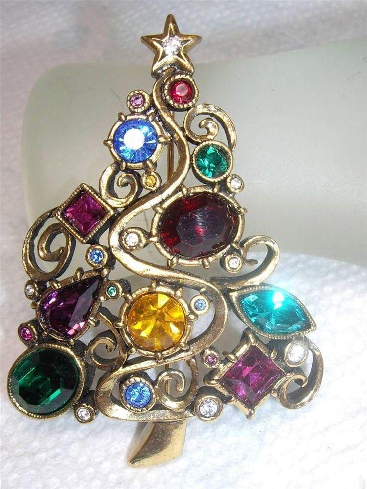 Rare Vintage Patricia Locke Swarovski Crystal Christmas Tree Brooch 2005.