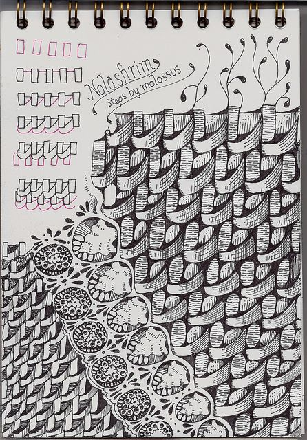 Tangle Pattern by molossus, who says Life Imitates Doodles, via Flickr