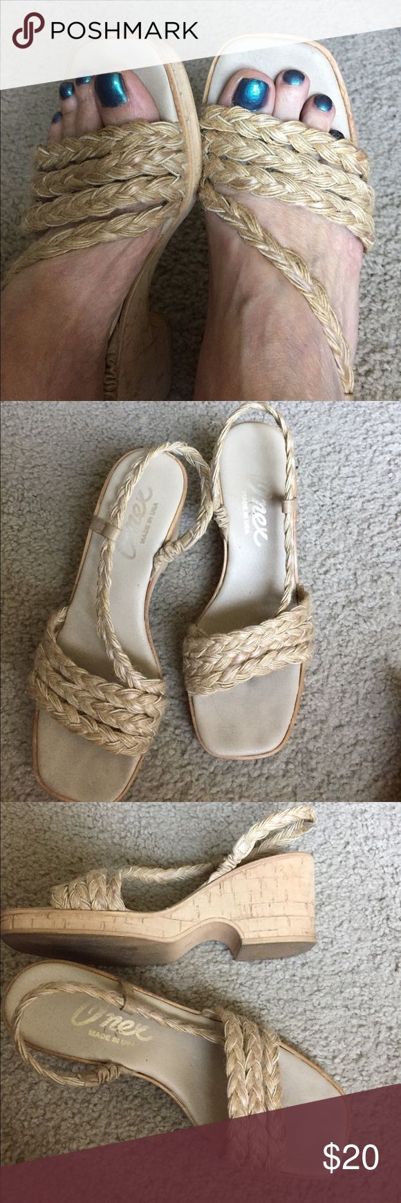 Onex braided jute Platform sandal Straw colored strappy sandal with cork bottom. True to size. onex Shoes Sandals