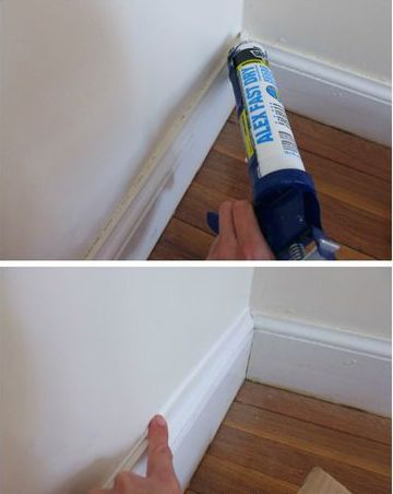 If you notice a crack starting to form at the seam between your wall and baseboard, you shouldn't just paint over the top — that won't fix anything. Instead, add a new layer of caulk to help fill in the gap.