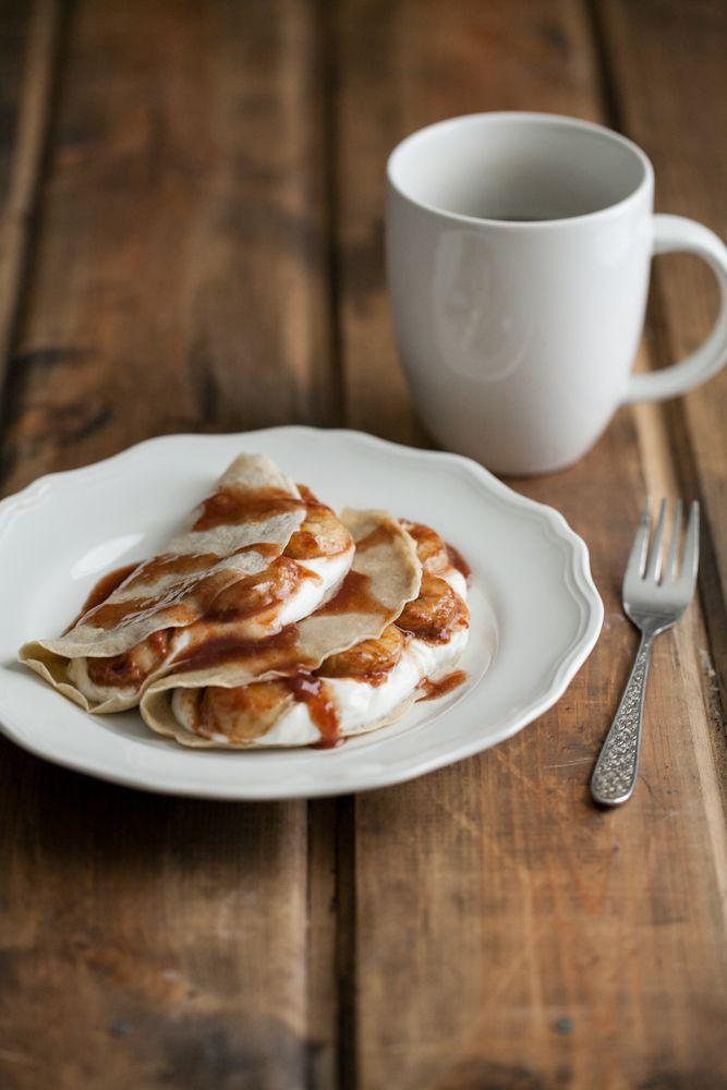 Barley Crepes With Yogurt And Cinnamon Honey Bananas