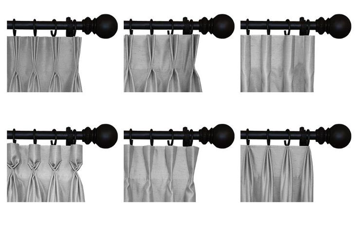 Interior Masterpieces® Pleat Styles -- Top (left to right): Standard Pinch Pleat, 2 finger Pleat, and Faux Cartridge Pleat. Bottom (left to right): Goblet Pleat, Inverted Pleat, and Top Pleat | Custom Drapes – Drapery - Curtains | Lafayette Interior Fashions