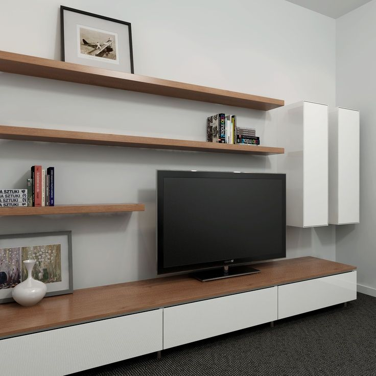 Opt for floating furniture design such as shelving for Living room shelves