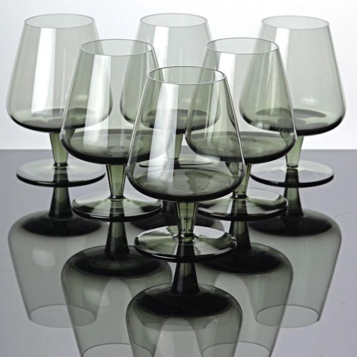 6 Cognacschwenker Cognacgläer Rauchglas grau Brandy Gläser Vintage ~ 60er Jahre