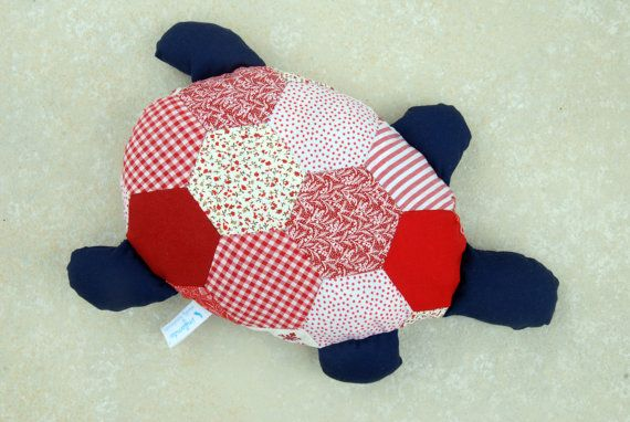 Hexagon Patchwork Turtle Softie by infantahandmade on Etsy, $40.00