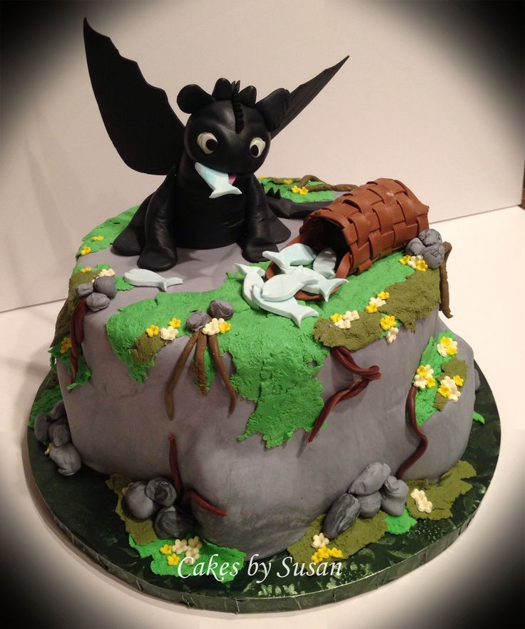 "How to train you dragon "" toothless"" the dragon cake"