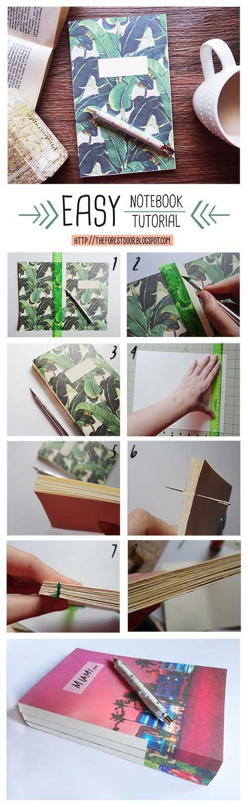 Easy Notebook DIY Tutorial Book binding from TheForestDoor - a DIY, Lifestyle, and Design blog Travel journal idea