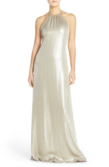 nouvelle AMSALE 'Deidre' Crushed Liquid Chiffon Halter Trapeze Gown available at #Nordstrom
