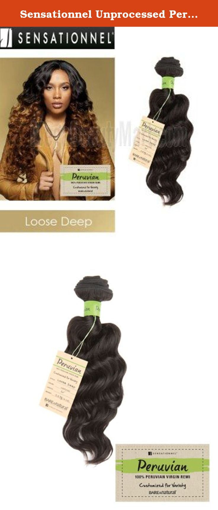 """Sensationnel Unprocessed Peruvian Virgin Remy Human Hair Weave Bare & Natural Loose Deep [18""""] (NATURAL). Sensationnel Unprocessed Peruvian Virgin Remy Human Hair Weave Bare & Natural Loose Deep •100% Peruvian Virgin Remy •Customized for Variety •5 A Quality •Excellent Performance for: Bleach, Multiple Dye, Perm, Wet&Wavy, Cur Restoration •When Washing:◦First, detangle the hair, afterwards wash the hair with lukewarm water. ◦We recommend using amild, sulfate-free detagling shampoo and a..."""