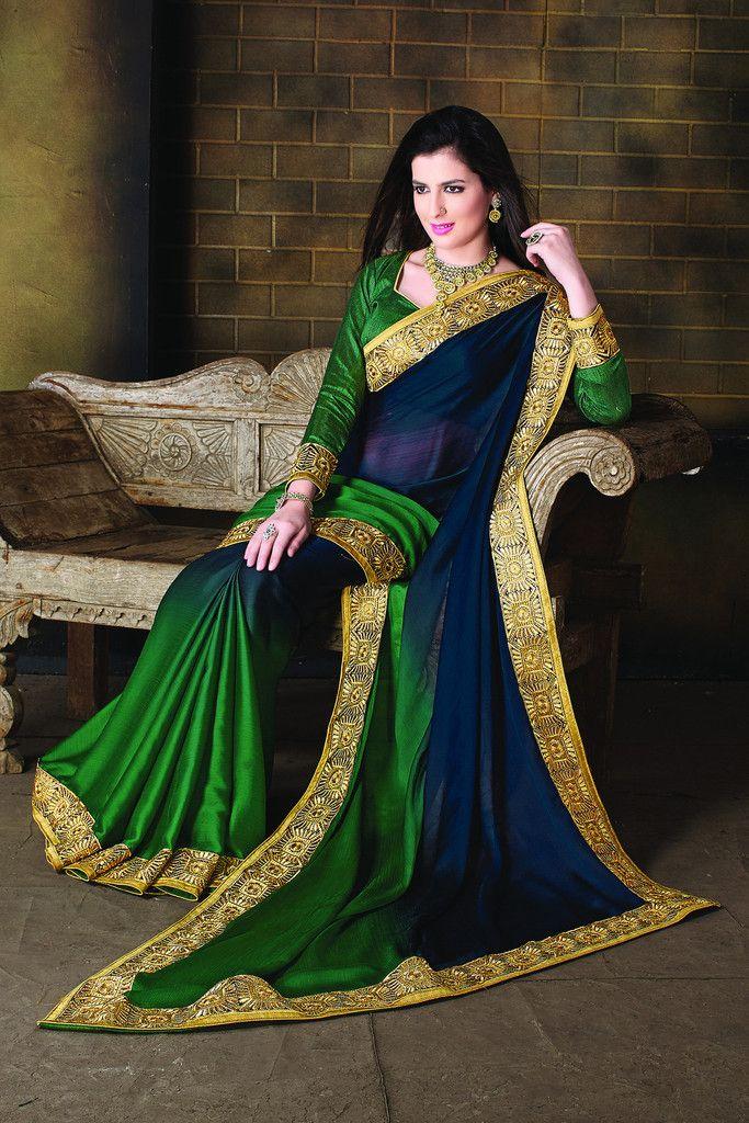 Party Wear Embroidered Satin Chiffon Art Silk Saree 2268