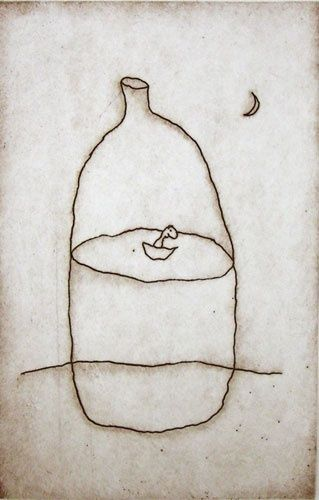 Again, love the simplicity of a line drawing.  Michael Leunig - little boat in a bottle