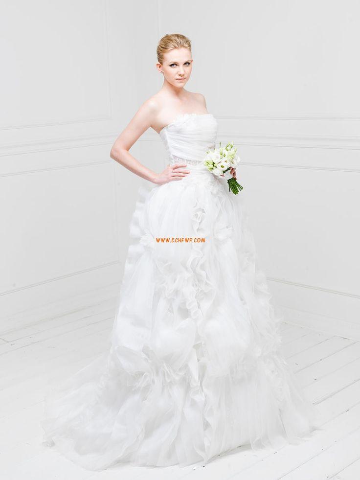 Délka dvorní Bez ramínek Tyl Designer Svatební šaty