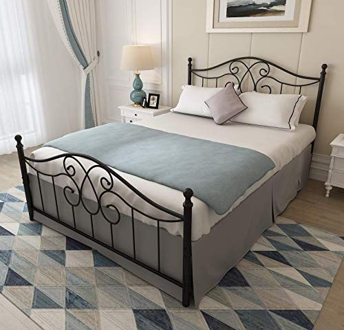 Enjoy Exclusive For Vintage Sturdy Queen Size Metal Bed Frame Headboard Footboard Basic Bed Frame No Box Spring