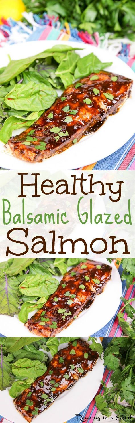 Simple & Healthy Balsamic Glazed Salmon recipe.  A quick, easy and clean eating honey balsamic glaze for fish.  Perfectly oven baked.  Gluten free and pescatarian. / Running in a Skirt