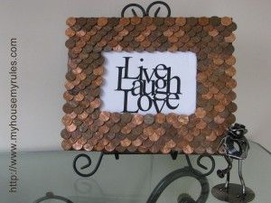 A penny for your thoughts!  Learn how to make this penny picture frame at http://www.myhousemyrules.com/penny-picture-frame/