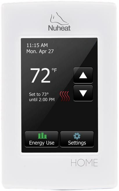 """The HOME thermostat by Nuheat. HOME features a 3.5"""" colour touchscreen, 7 day programmability as well as an energy usage tracker."""