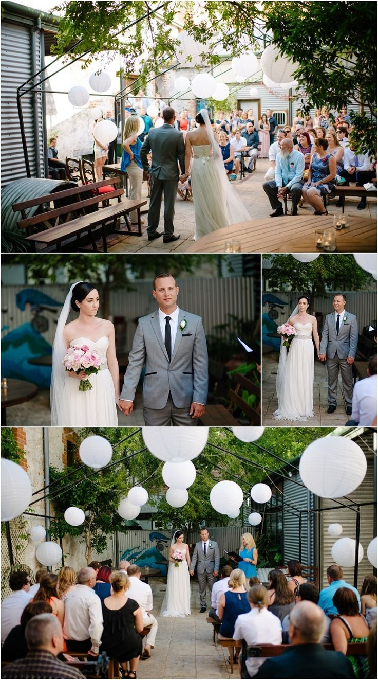 decor - LOVE the simple white lanterns | Moore and Moore gallery cafe Fremantle wedding ceremony