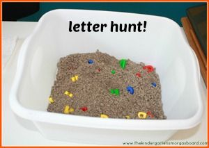 Letter Dig- let kids dig for letters in a basin of dirt, sand, or rice.  For older kids, see if they can keep looking until they find them in ABC order.