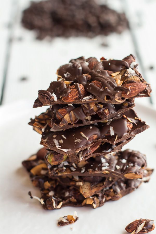 Coffee Roasted Almond + Toasted Coconut Dark Chocolate Bark | halfbakedharvest.com, holiday food, desserts, gifts, snacks