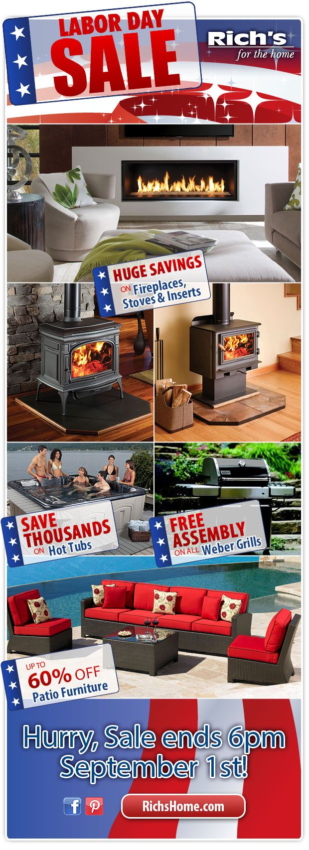 Richu0027s Labor Day Sale: Huge Savings On Fireplaces, Patio Furniture, Hot Tubs