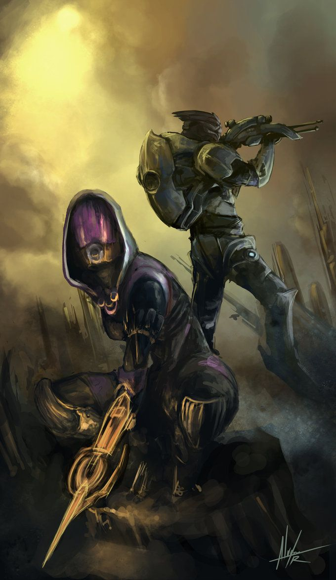 Mass Effect Fanart by troubadour93  My favourite combat duo