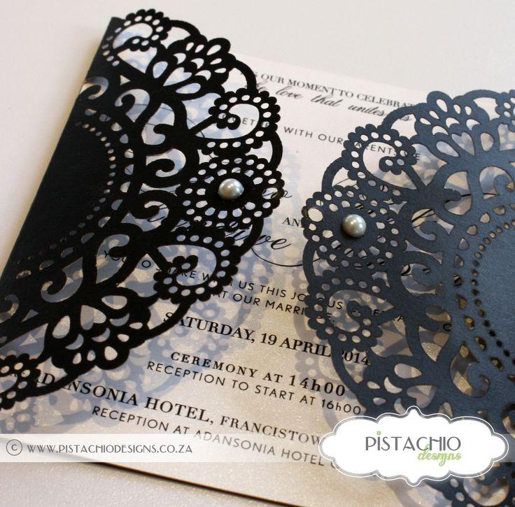 Stunning elegant laser cut wedding invite