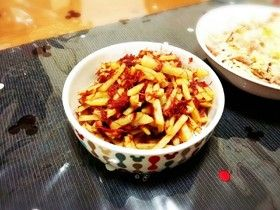 Sauteed canned Corned beef & shredded Potatoes  簡単☆コンビーフとポテト炒め