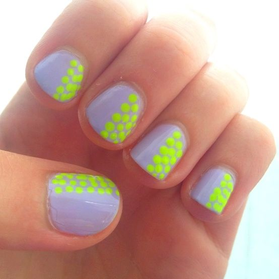 Cute gray and neon nails :) You can do this with nail polish (two colors) and the end of a bobbi pin