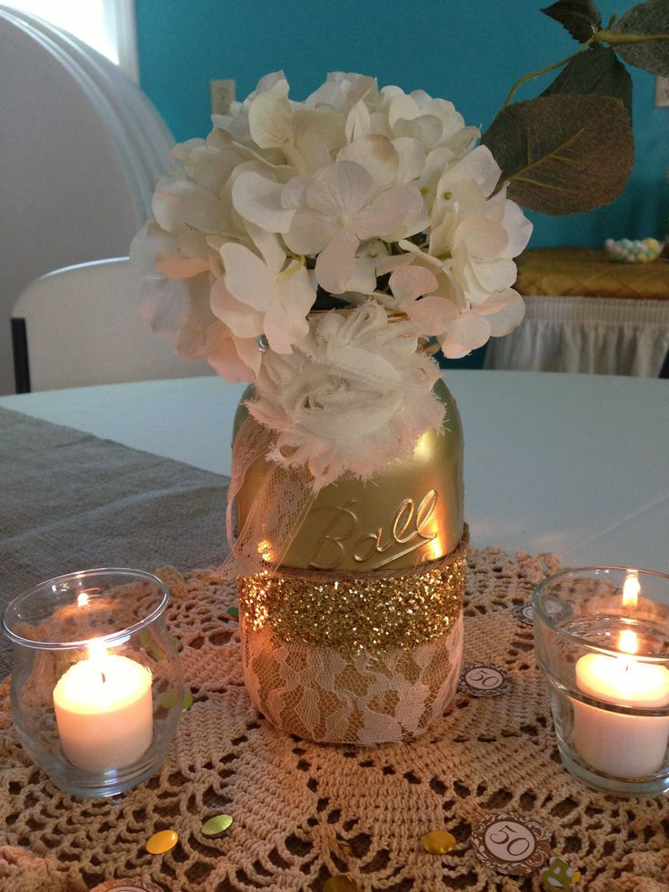 Centerpiece th anniversary party pinterest jars