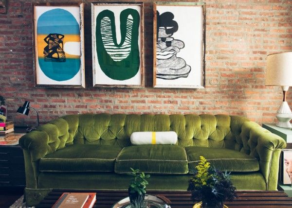 great prints. cool couch. #green: Green Sofa, Green Couch, Green Velvet Couch, Brick Wall, Cool Couch, Brick Brick, Expo Brick, Big Art, Green Velvet Sofas