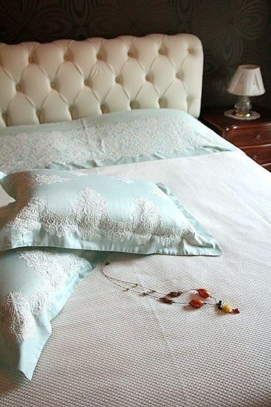 Pure elegance of white and blue in your bedroom by Lale Devri İstanbul....