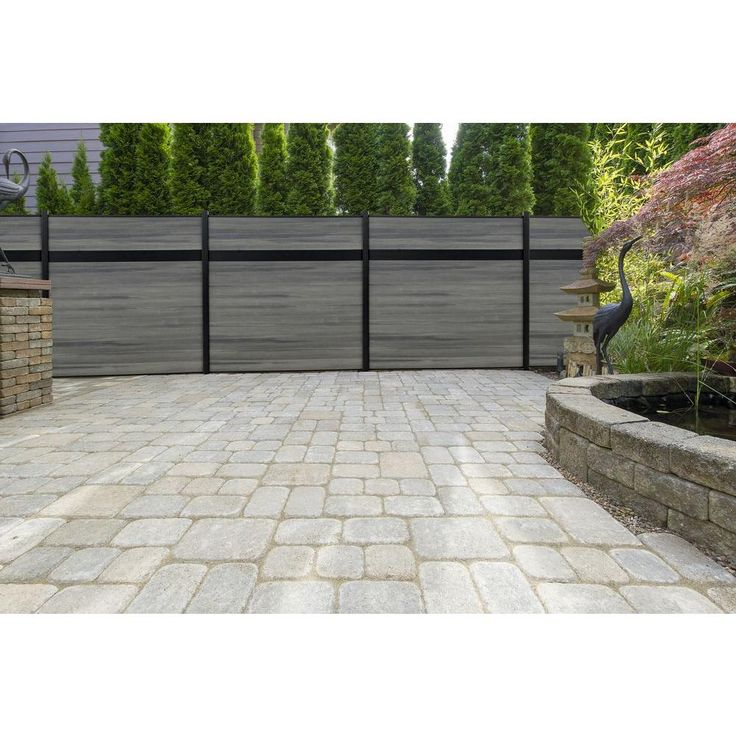Veranda Euro Style 6 ft. x 6 ft. Estate Oxford Grey Aluminum/Composite Horizontal Fence Section-EF 01400 - The Home Depot