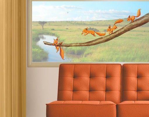 Fenstersticker No.707 Einhörnchen, halt dich fest! 117x55cm