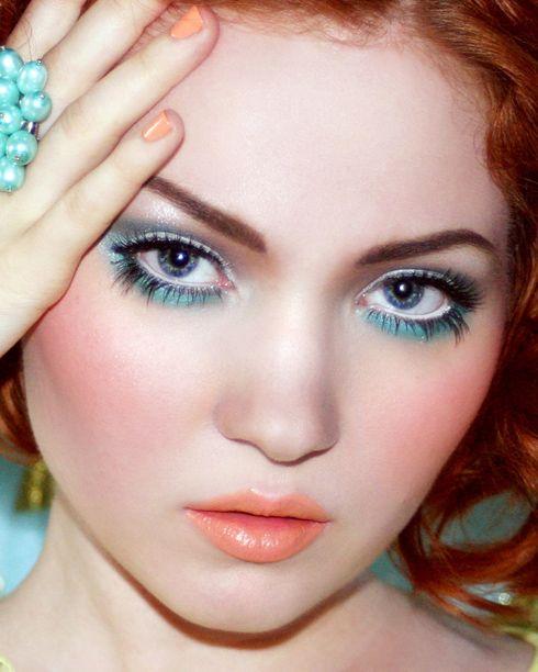 turquoise & peach makeup #glowing skin