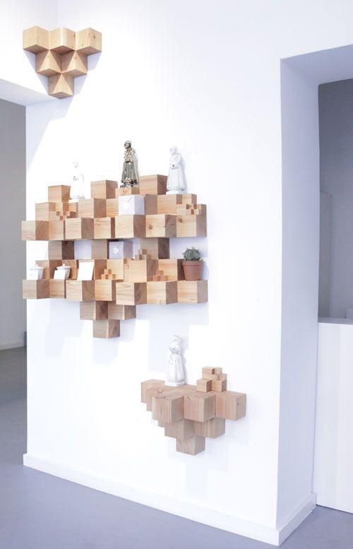L'étagère 3 D en blocs de bois - Déconome