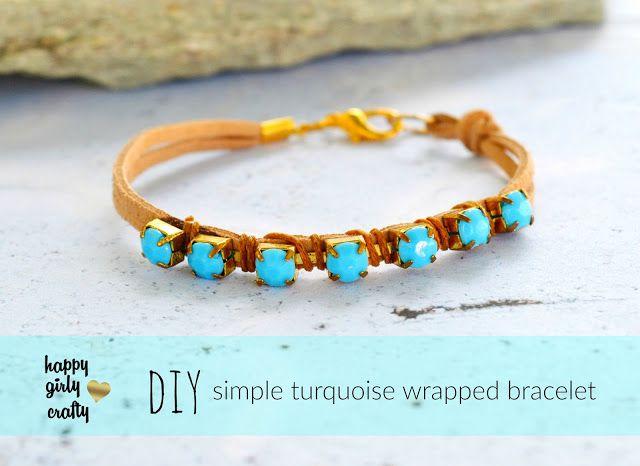 Simple turquoise rhinestone wrapped bracelet DIY
