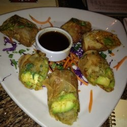 BJ's Avocado Egg Rolls: EGG ROLLS: 1 lg avocado, peeled, pitted, & diced; 2 tbsp sun-dried tomatoes packed in oil; chopped 1 tbsp minced red onions; 1/2 tsp fresh cilantro, chopped; 1 pinch salt; 3 egg roll wraps; 1 egg, beaten. Stir together vinegars, tamarind, honey, & saffron in microwave safe bowl & microwave 1 min. Stir til tamarind is dissolved. In blender, Puree tamarind mixture, cashews, 2/3 cup cilantro, garlic, onions, sugar, pepper, and cumin. & mixture into bowl & stir in oil…