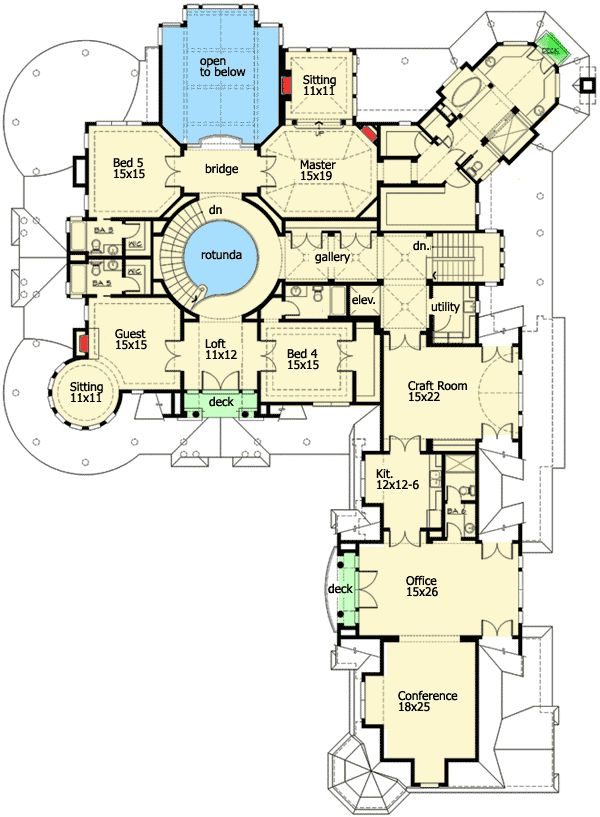 Extra large home floor plans for Large luxury house plans