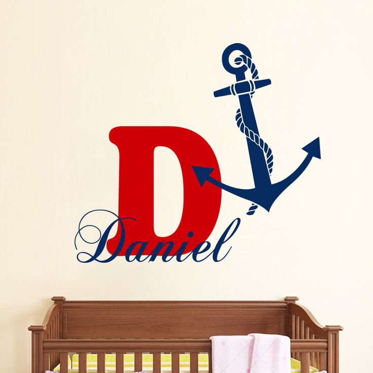 Monogram Wall Decals Boy Name Sticker Anchor Vinyl Sticker Bedroom Decor kk654