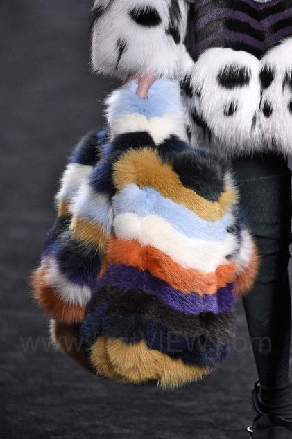 Fendi, Fall 2016, Milan, firstVIEW.com multicolored fur handbag